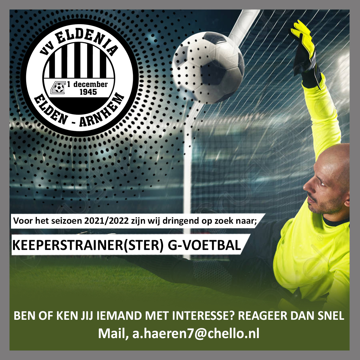 Keeperstrainer(ster) G-voetbal